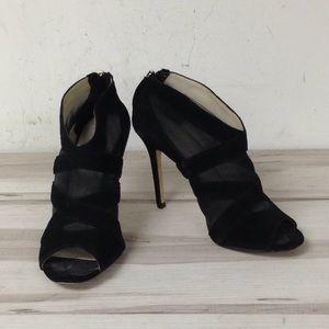 Karen Millen Black Mesh Peep Toe Booties Size 39